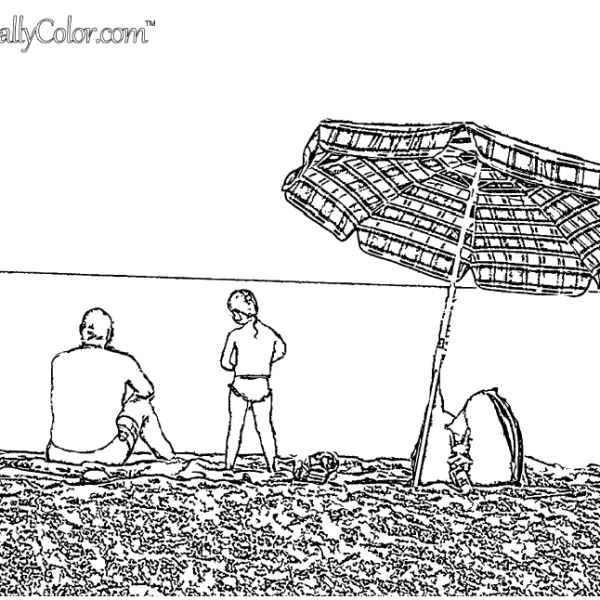 On The Beach in Spain Coloring Page