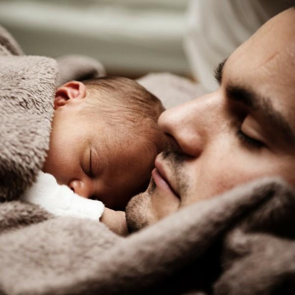 ReallyColor - Daddy and Baby Sleeping Photo