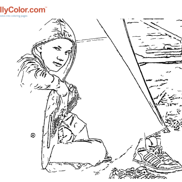 ReallyColor - Tent Music Coloring Page