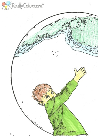 Holding Earth Coloring Page