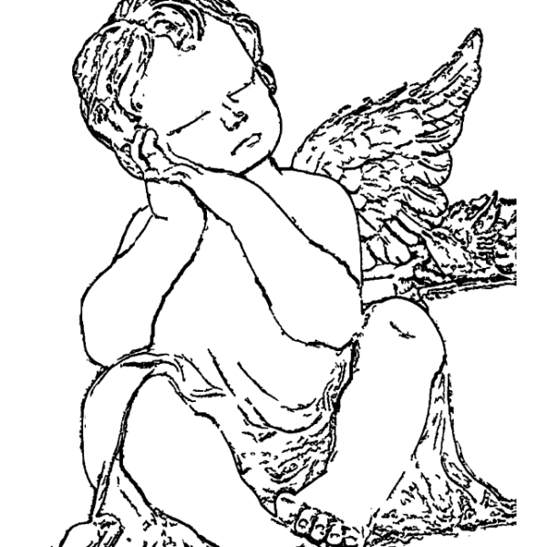 Angel Statue Coloring Page