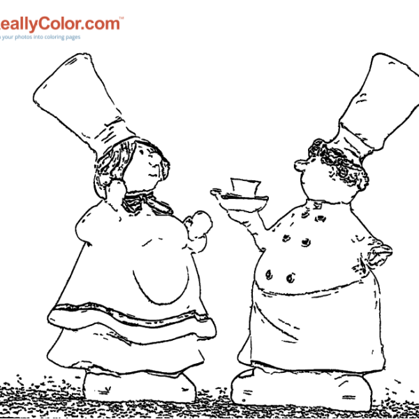 The Flirty Chef Coloring Page