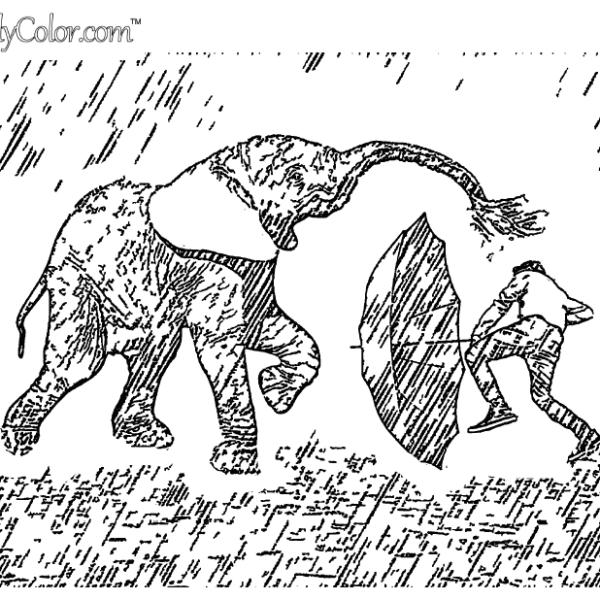 Elephant Rain Dance Coloring Page