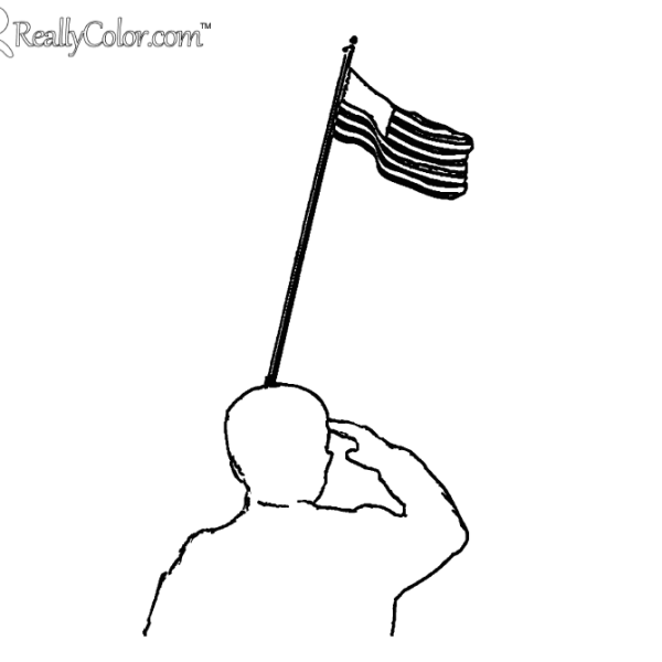Flag Salute Coloring Page