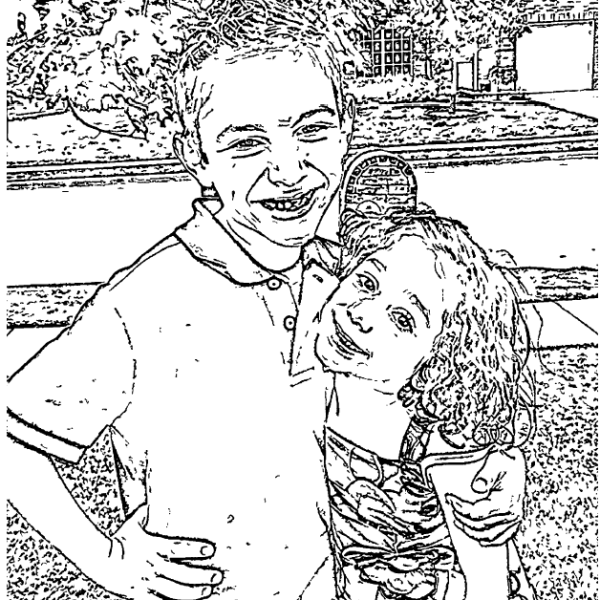 ReallyColor - Sibling Love Coloring Page