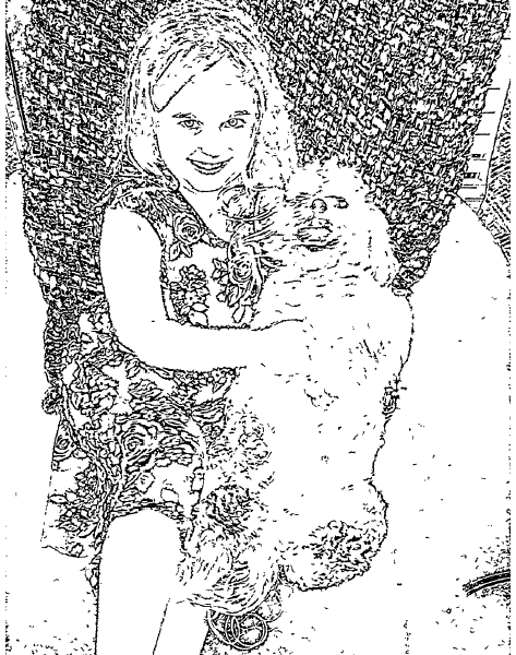 ReallyColor - Girl And Her Dog Coloring Page