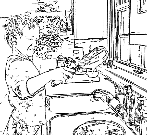 ReallyColor Hall of Fame - Soapy Dishes Coloring Page
