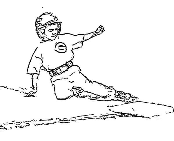 ReallyColor User Hall of Fame - Baseball Safe Slide Coloring Page