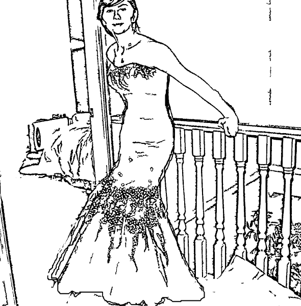 ReallyColor User Hall of Fame - Beautiful Dress Coloring Page