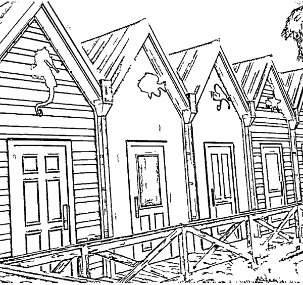 ReallyColor User Hall of Fame - Colorful Houses Coloring Page