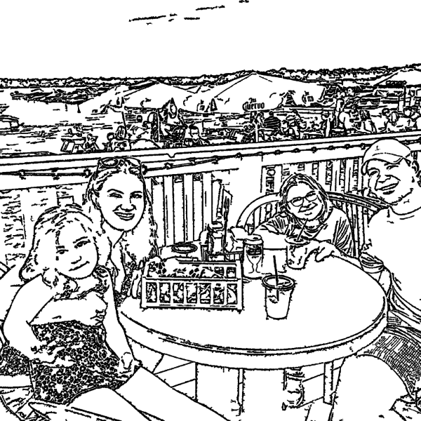 ReallyColor Hall of Fame - Family Vacation Coloring Page