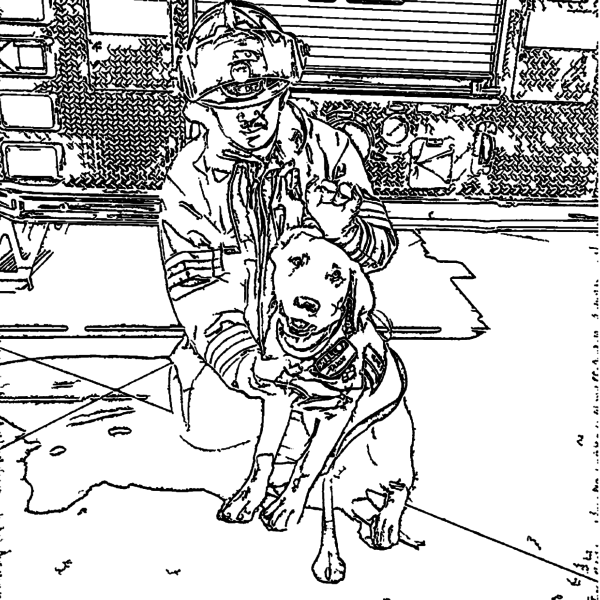 ReallyColor User Hall of Fame - Fireman Dog Coloring Page