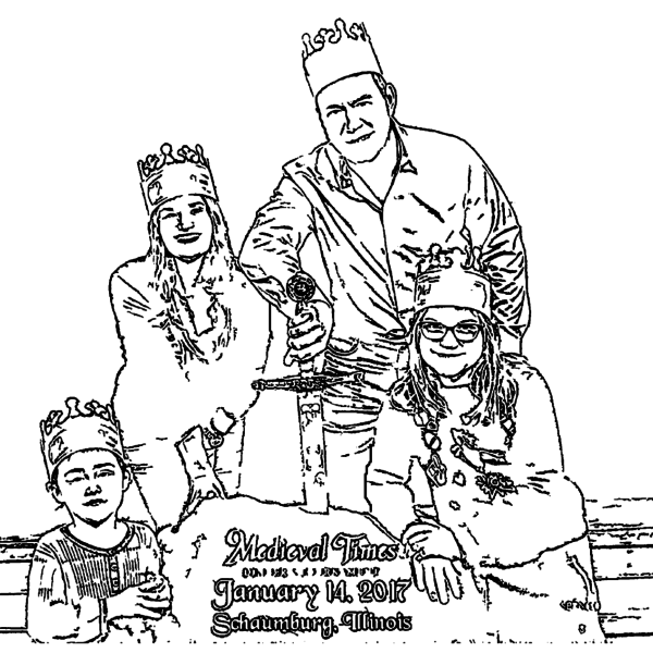 ReallyColor Hall of Fame - King Queen Princesses Coloring Page