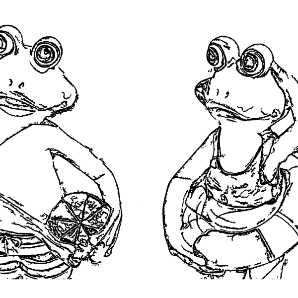 ReallyColor Hall of Fame - Swimming Frogs Coloring Page