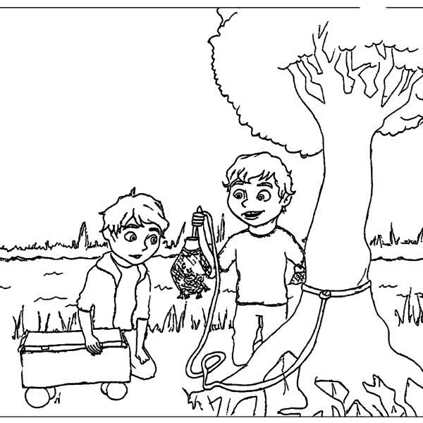 ReallyColor - Little Red Wagon Coloring Page